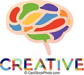 logo, vektor, smart, hjärna, skapande