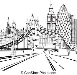 london, skiss, silhuett