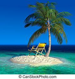 longue, ö, tropisk, liten, schäs, strand