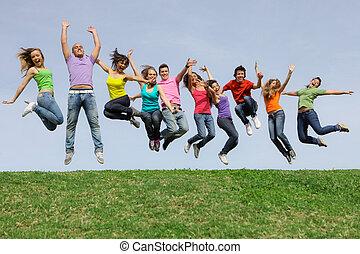 lopp, grupp, hoppning, mångfaldig, blandad, leende glada