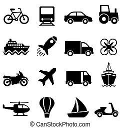 luft, transport, land, vatten, sätta, ikon