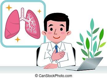 lungan, läkare, förklarande