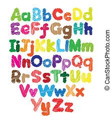 lurar, färgad, klotter, hand, alfabet, teckning