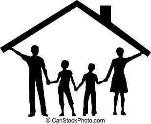 lurar, familj, hus, över, tak, under, hem, hålla