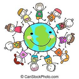 lurar, omkring, planet värld, leka, lycklig