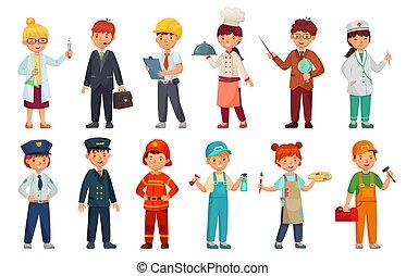 lurar, sätta, läkare, arbetare, tecknad film, utrustning, vektor, professionell, baby, affärsman, unge, barn, uniform., ingenjör