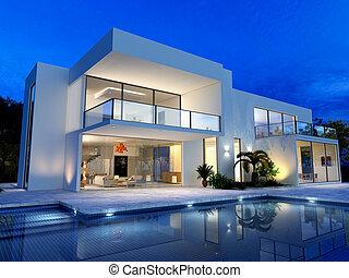 luxuös, slå samman, villa
