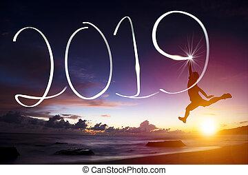 lycklig, år, färsk, 2019., hoppning, teckning, man, strand