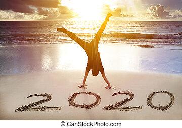 lycklig, 2020, ny herre, handstående, begrepp, strand., år