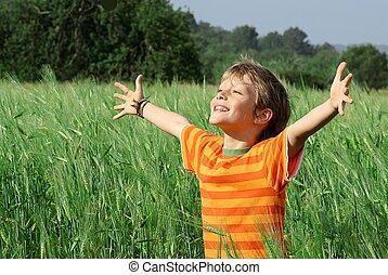 lycklig, barn, sommar, hälsosam
