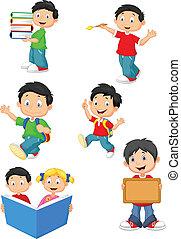 lycklig, barn, tecknad film, skola, colle