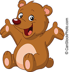 lycklig, björn, teddy
