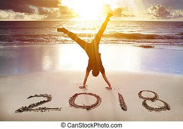 lycklig, färsk, 2018, man, handstående, begrepp, strand., år