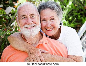 lycklig, hälsosam, par, senior