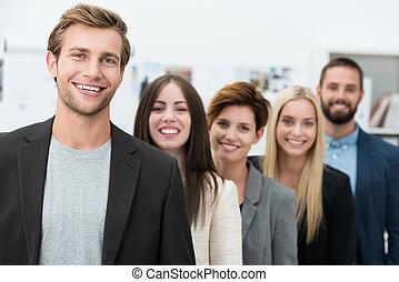 lycklig, motivera, affärsverksamhet lag