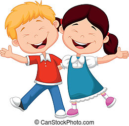 lycklig, tecknad film, barn