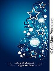 lysande, jul, träd., vykort