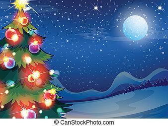 lysande, klumpa ihop sig, träd, jul