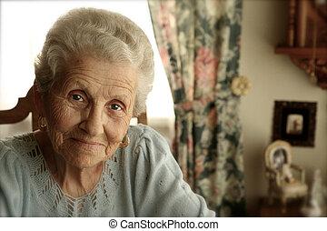 lysande, kvinna, ögon, äldre