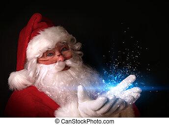 lyse, räcker, magisk, jultomten, holdingen