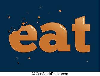 märken, äta, bita, ord