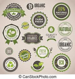 märken, sätta, organisk, etiketter