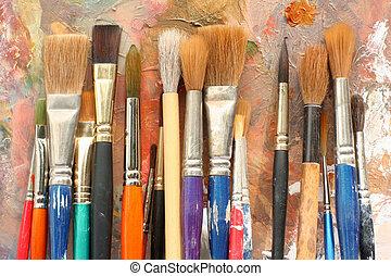måla palett, borstar, konst, &