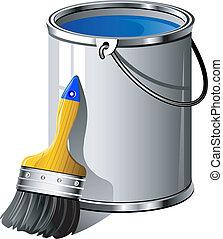 målarfärg hink, målarpensel