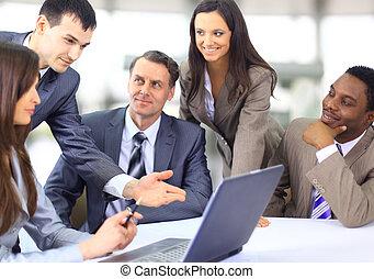 mång-, affär, etnisk, ledare, diskutera, arbete, möte