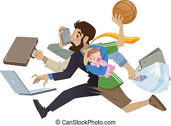många, toppen, upptaget, tecknad film, man, multitask, fader, arbeten