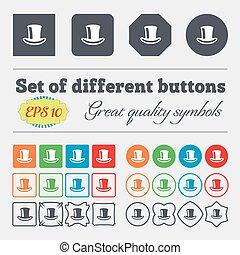 mångfaldig, vektor, färgrik, hatt, buttons., ikon, stor, cylinder, sätta, underteckna, high-quality