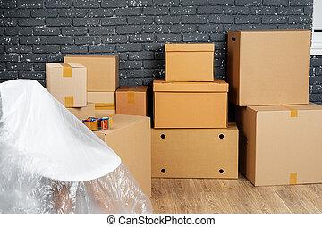 möblemang, concept., stack, ute, packat, rutor, gripande, eller