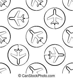 mönster, airplane, seamless, ikon
