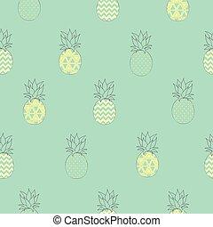 mönster, ananas, vektor, seamless