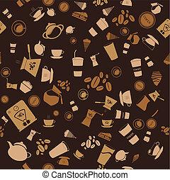 mönster, bakgrund, seamless., ikon, vektor, kaffe