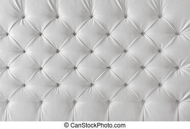 mönster, bakgrund, struktur, stoppning, soffa, läder, vit