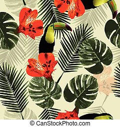 mönster, bladen, papegoja, seamless, tropisk, tukan, palm, blomningen