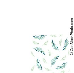 mönster, bladen, seamless, bakgrund., vektor, gröna vita