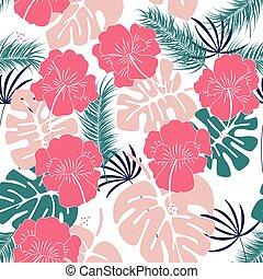 mönster, bladen, seamless, monstera, tropisk, bakgrund, vita blommar