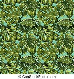 mönster, bladen, -, seamless, tropisk, vektor, bakgrund