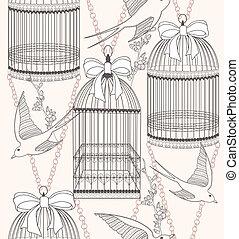 mönster, blomningen, seamless, fåglar