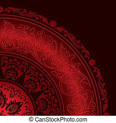 mönster, dekorativ, årgång, röd, ram, runda