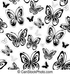 mönster, fjärilar, vit, repeterande