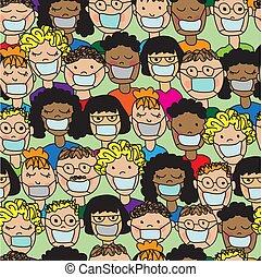mönster, folk, medicinsk, tecknad film, seamless, masker
