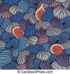 mönster, fruit., seamless, fikon, vector., halvt, hel