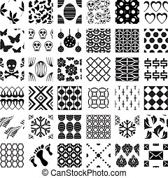 mönster, geometrisk, seamless, sätta, monokrom
