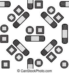 mönster, gips, seamless, illustration, bakgrund., vektor, bandage, vit, ikon