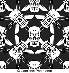 mönster, grunge, seamless, vektor, skulls., illustration.