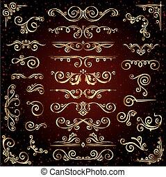 mönster, gyllene, dekor, sätta, lik, guld, bakgrund., avdelare, vektor, calligraphic, mörk, inramar, viktorian, baner, agremanger, utsirad, virvla runt, sida, elementara
