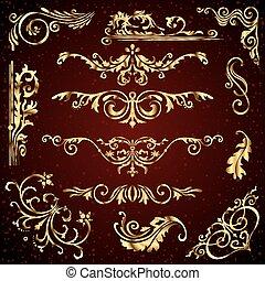 mönster, gyllene, virvlar, sätta, lik, guld, bakgrund., avdelare, dekor, vektor, calligraphic, mörk, inramar, baner, agremanger, utsirad, blommig, sida, elementara
